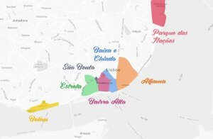 Mapa das principais regiões de Lisboa
