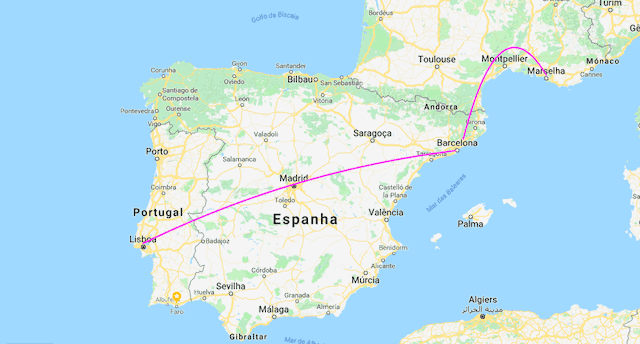 Mapa do trem de Lisboa a Marselha