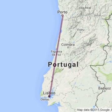 Mapa da viagem de trem de Lisboa ao Porto