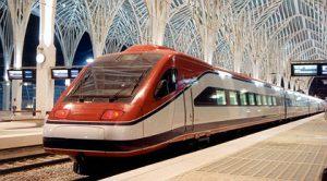 Trem na Estação do Oriente no Parque das Nações