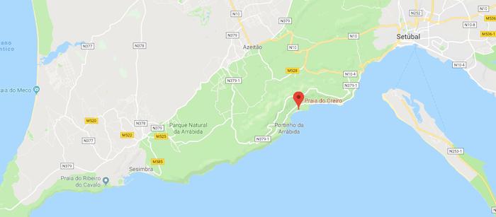 Mapa da Praia do Creiro em Setúbal