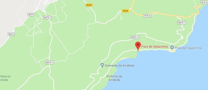 Mapa da Praia de Galapinhos em Setúbal