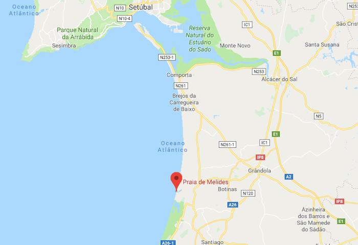 Mapa da Praia de Melides em Setúbal